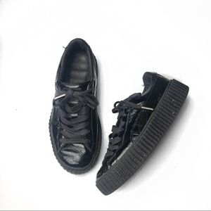 Puma fenty patent black leather lace up sneakers